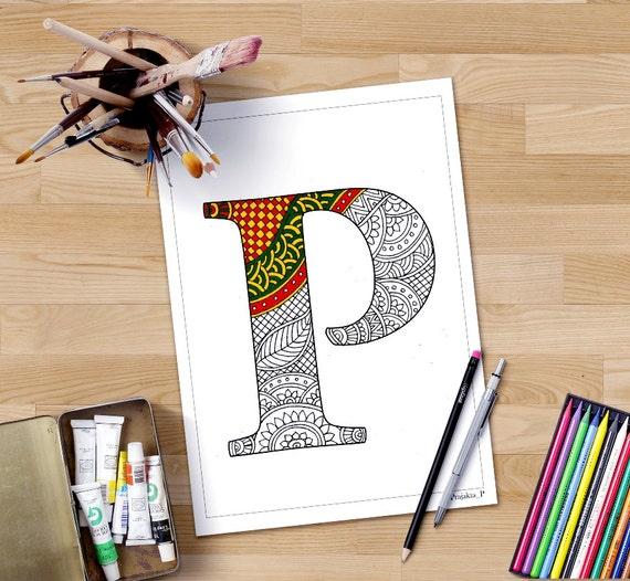 Colorear alfabeto de páginas P zentangle para imprimir