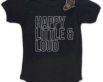 Happy Little And Loud Babygrow Vest Top Cute EBG76