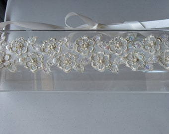 Ivory and Gold Beaded Flower Halo Headband with Ivory Satin Ribbon Tie, for Bridal, weddings, parties, special occasions