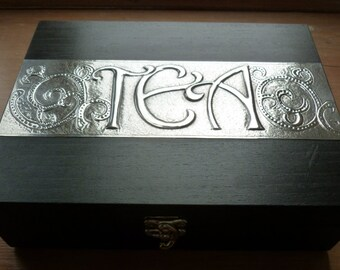 Tea Box with 6 compartments and Pewter Detail