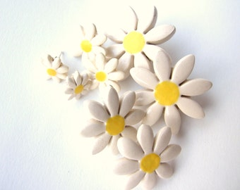 I love daisies earrings tiny ceramic daisies on stud posts very cute Summer time