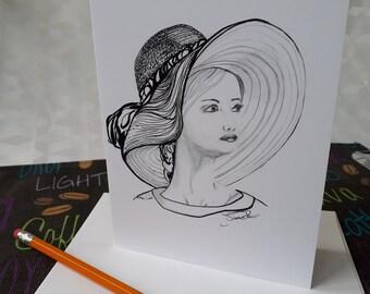 Carte de voeux/Carte Noir et blanc/Carte fête des mères/Carte d'anniversaire/Amitié/Amour/Félicitations/Dessin/Encadrement - CNB-FE-DRR-0023
