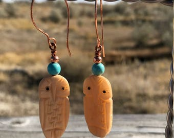 Turquoise & copper earrings with a carved bone owl.