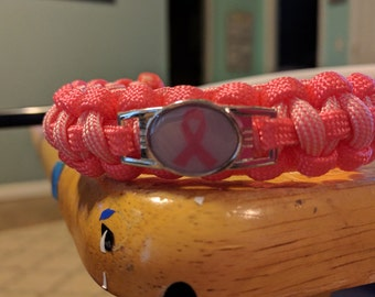 Breast Cancer Paracord Bracelet, Survival Bracelet, Cancer Awareness