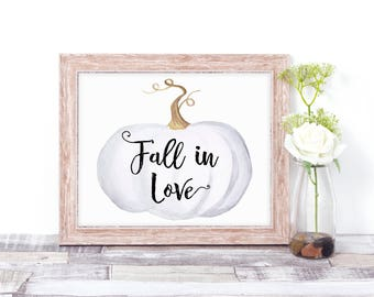 Pumpkin Wedding Decor - Fall In Love - Rustic Wedding Sign - White