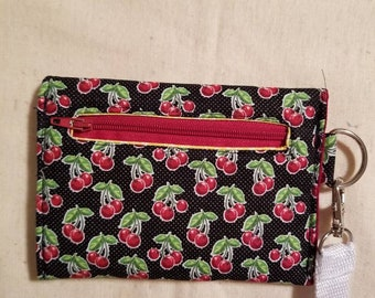 Cherry fabric wristlet wallet with snaps and zipper