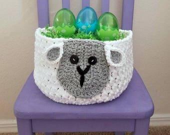 Sam Sheep Easter Basket Crochet Pattern *PDF FILE ONLY* Instant Download