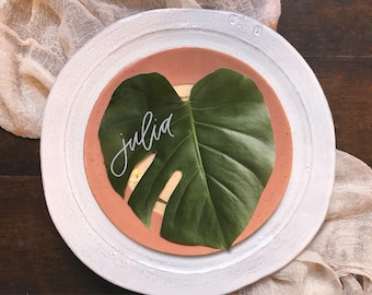 Monstera Place Cards - Leaf Escort Cards  - Hand Lettered - Hawaii Calligraphy