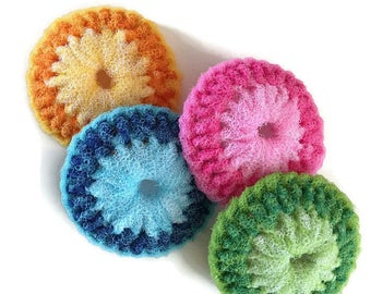 """Extra Large Nylon Dish Scrubbies... 2 Through 6 Colorful Dish scrubbers, You Choose the Colors You Want, Double Layered 4 1/2"""" Dia - Gift"""