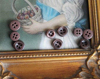 12 small baby child button 431 chocolate brown buttons