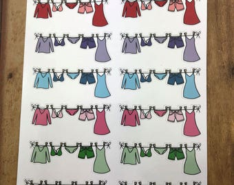 Clothesline, Laundry.  Planner Stickers, Erin Condren, Recollections, Happy Planner, Cute Stickers, ECLP, Fun.