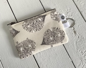 Change Purse   Hedgehog, Credit Card Holder,  Zipper Pouch, Cotton