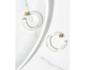 Clear Lucite Hoops / Lucite Jewelry / Transparent Earrings / Perspex Hoops / Resin Jewelry