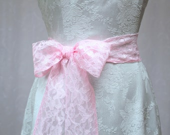Pink Primrose Lace Wedding Sash/ Flower Girl Sash/ Handmade Accessory