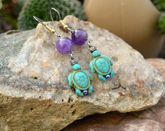 Turtle Earrings, Turquoise Stone Turtle and Amethyst Earrings, Handmade Jewelry, Gift Ideas for Her from The Hidden Meadow
