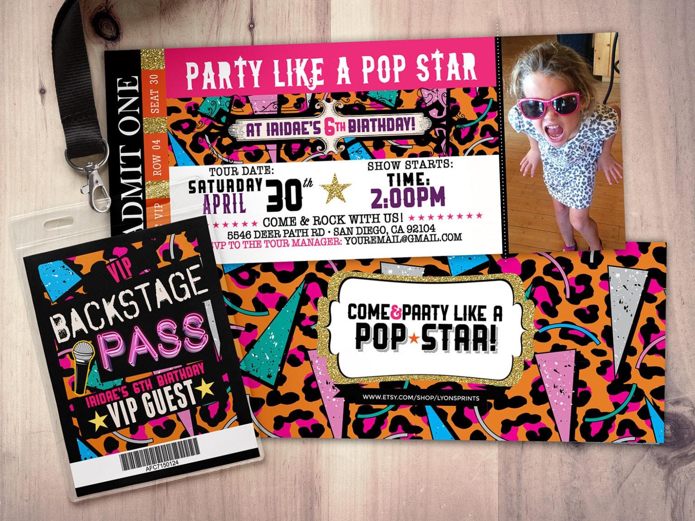 ROCK STAR Concert Ticket Birthday Party Invitation Music Il Fullxfull Rock  Star Concert Ticket Birthday Party  Concert Ticket Invitations