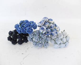 1.5 cm mulberry paper blue shade paper roses set - 15mm assorted colors mulberry paper roses
