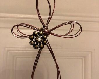 Two tone wire cross ornament