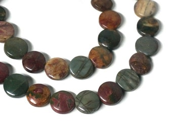 Red Creek Jasper / 12mm coin / natural gemstone beads / 8 inch strand / 968s