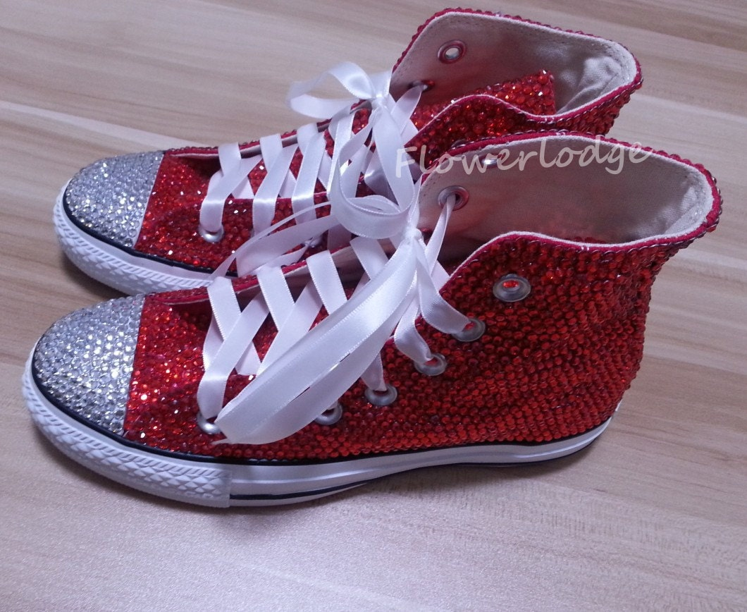 fetching how to design converse shoes at home.  zoom High Top Converse Shoes with red rhinestone prom shoes