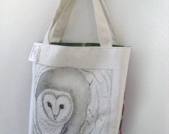 Original pen ink drawing on SMALL fabric tote bag, gift bag, teacher gift bag, gifts for her, Monica Minto