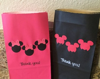 Mickey & Minnie Treat Bags/Party Favor Bags Set of 12 Bags