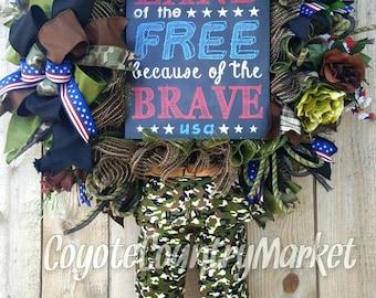 Military Wreath-Soldier Wreath-Veteran's Wreath-Military Mesh Wreath-Military Door Wreath-Soldier Wreath-Patriotic Wreath-VFW Wreath