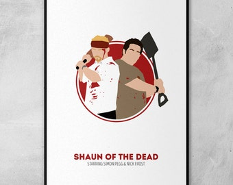 Shaun of the Dead |  Hot Fuzz | The World's End | Simon Pegg | Nick Frost | Circle Art | Minimal Artwork Poster