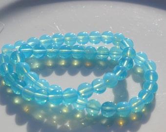 Opal Aqua 6mm perles de verre tchèques en 25