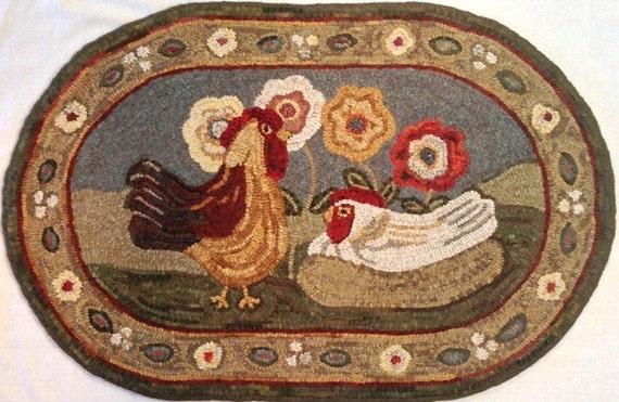 "Rug Hooking PATTERN, Expectations, 22"" x 36"", J745,  Folk Art Chickens Design"