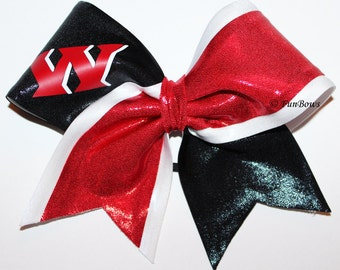 Custom School Initial or Rec Team Cheerleading Bow by Funbows