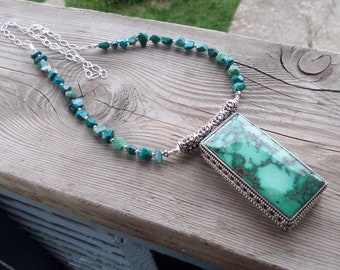 Long Necklace with a HUGE Natural Turquoise Pendant and accent Chrysocolla beads