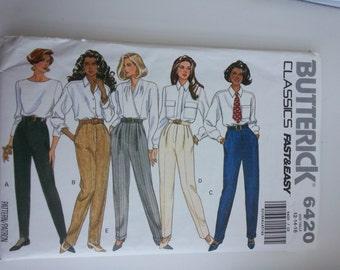 90s Pants/ Pleated Pants/ stirrup pants / pockets/long pants/ 1992 vintage sewing pattern, Hip 36 38 40, Size 12 14 16, Butterick 6420
