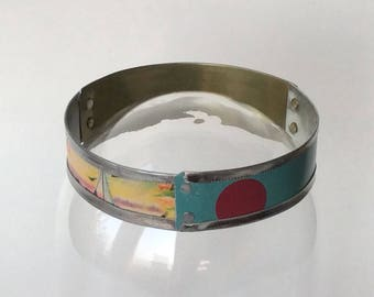 Handmade Tin Bangle, Upcycled One of a Kind Bracelet, Recycled Tin