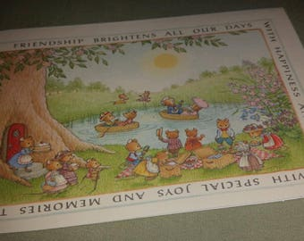 Vintage Greeting Card ~ Mice Picnic Card