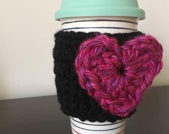 Reusable Coffee Sleeve, Crochet Mug Cozy, Coffee Lover Gift, Tea Lover Gift, Travel Mug Cozy, Flower Heart Mug Cozies, Ready to Ship
