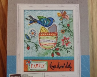 """New Dimensions Handmade Embroidery Kit """"Family~Hugs shared daily"""""""