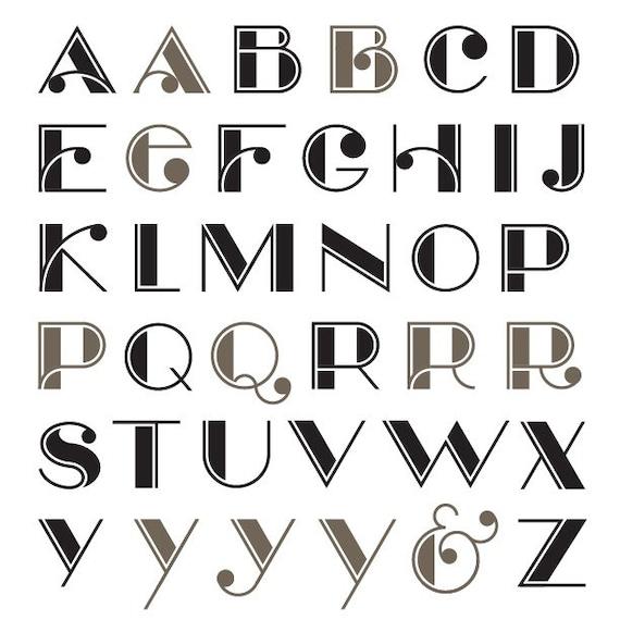 Deco Nouveau vector alphabet