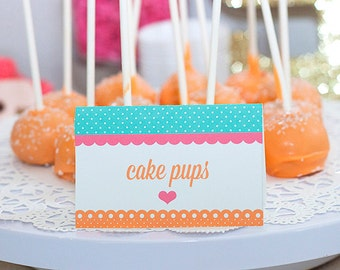 Kitten & Puppy Party Printable -  Food Buffet Foldable Place cards - Editable Text (Instant Download)