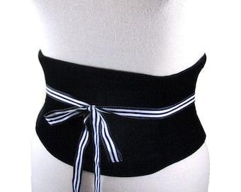 Velvet Corset Belt / Black Underbust Waist Cincher / Obi Belt / Velvet Wedding Corset / Waist Shaper / Steel Boned Velvet Corset / Waspie