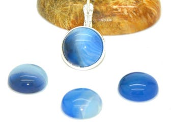 4 cabochons 12 mm blue dyed agate