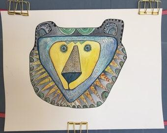Bear's original watercolor with ink