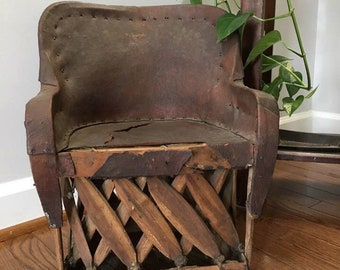 Mexican Equipale Chair Turned Plant Stand Child's Leather and Wood Chair from Mexico Rustic Decor Southwestern Furniture