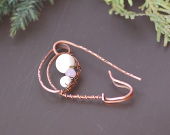 Copper Shawl pin Shawl Pin Copper Wire quartz agate Wire Wrapped Jewelry Handmade scarf pins Fashion jewelry Hammered Copper Brooch Fibula