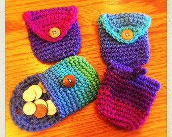 Crochet Coin Purse w/Loop Assorted Colors