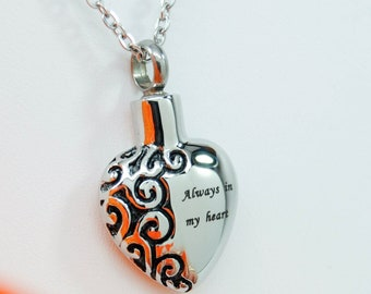 """The Original """"Always in my Heart"""" Stainless Steel Cremation Urn Necklace 