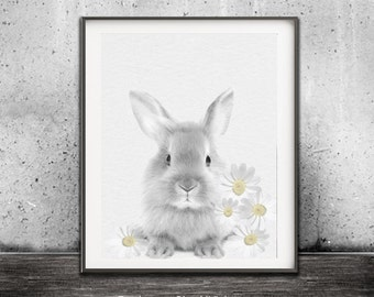 Bunny Print Rabbit Print Baby Room Decor Cute Animal Print Instant Download Printable Flower Art Digital Print Nursery Art Daisy Print Kids