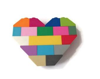 Multicolored LEGO Heart Brooch