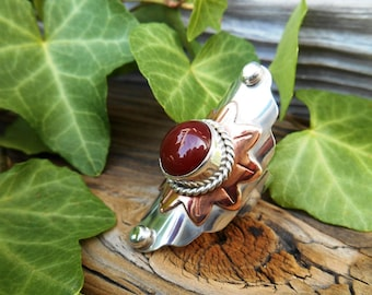 Boho Ring, Armor Ring, Saddle Ring, Red Stone Ring, Viking Jewelry, Warrior Princess, Mixed Metal Ring, Statement Jewelry, Southwestern Ring