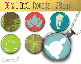 Zen Elements In Retro - (1x1) One Inch (25mm) Round Pendant Images -Digital Sheet - Buy 2 Get 1 Free - Digital Download - Automatic Download
